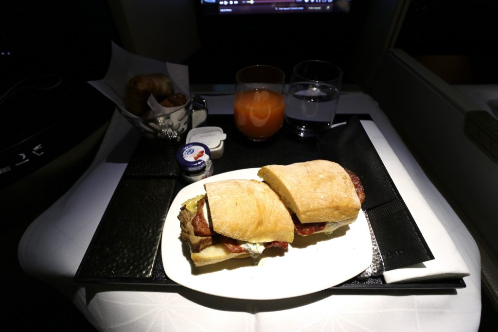 Steak Sandwich from Etihad Airways' All-Day Menu EY 455 Sydney to Abu Dhabi Business Class A380