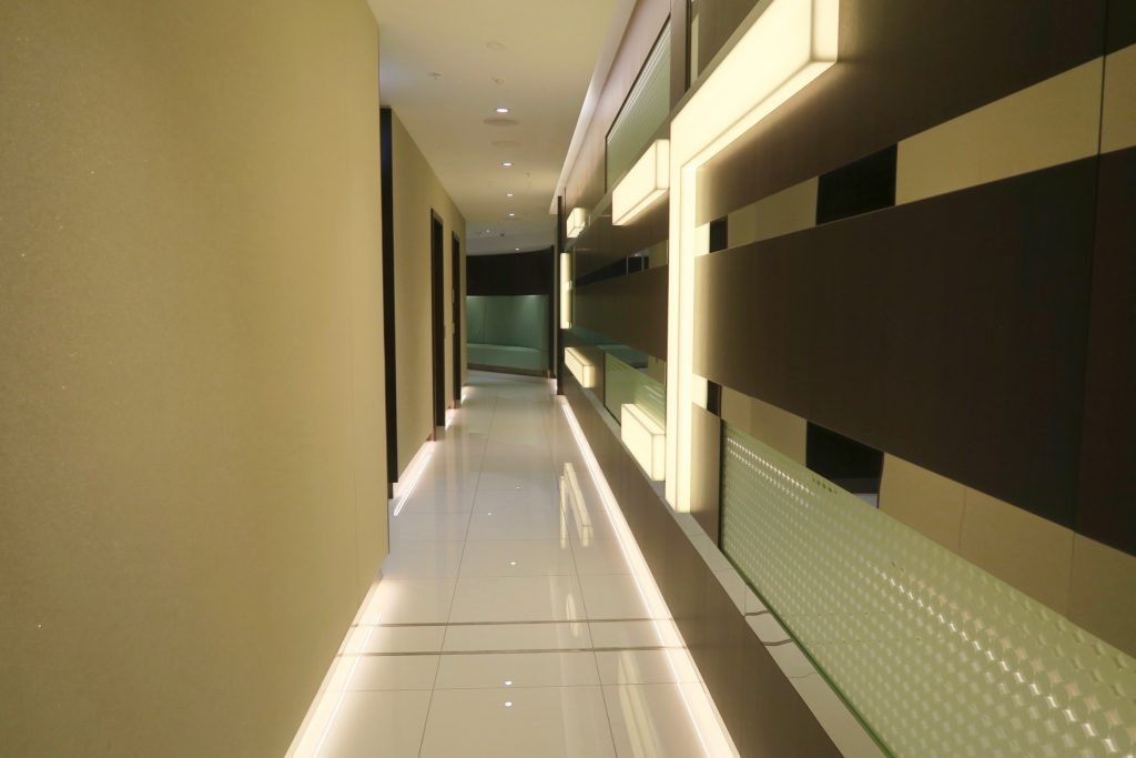Hallway leading to the prayer room. Etihad Airways First and Business Class Lounge Sydney Airport