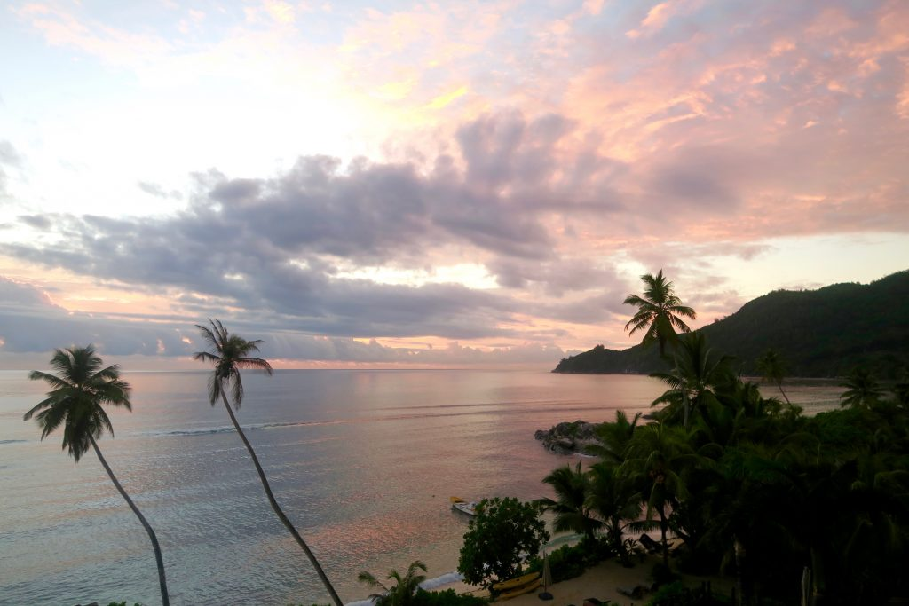 Seychelles sunset. View from our balcony