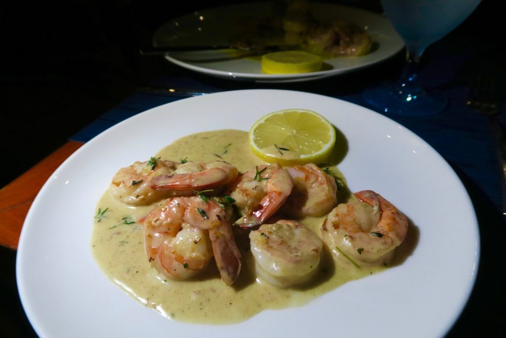 Freshly cooked prawns from Hilltop Restaurant at Hilton Northolme Seychelles