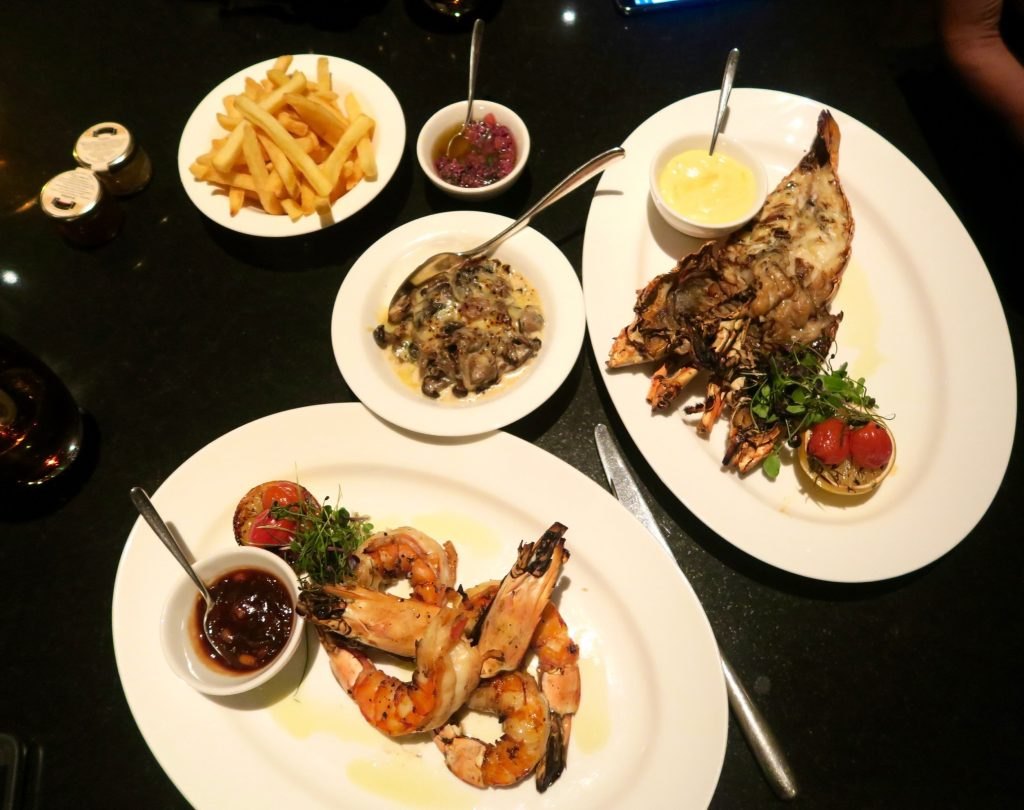 Seafood dinner at the Park Bar & Grill at Park Hyatt Abu Dhabi