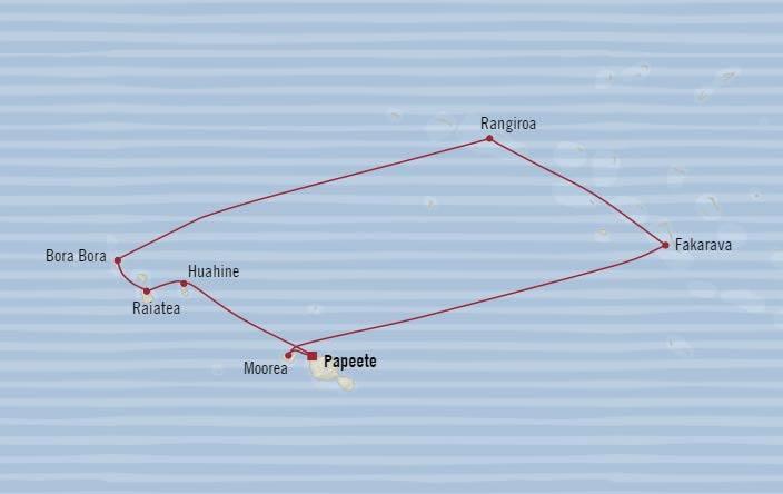 Sparkling South Pacific Oceania Cruise. Papeete to Papeete Voyage Map