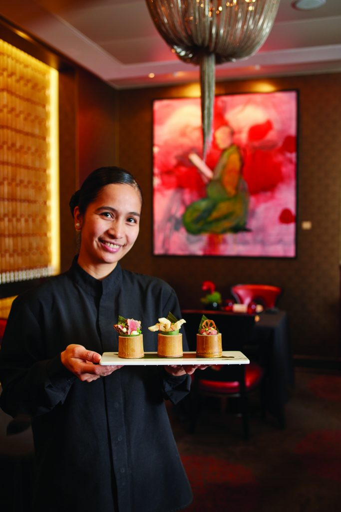 Service onboard Oceania Cruises. Sharing Trio - Tempura, calamari, Lobsster Salad