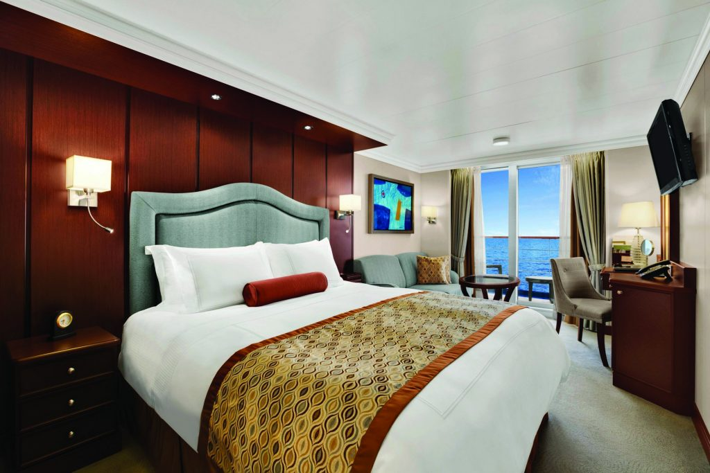 There are more overnight destinations in an Oceania Cruise. Pictured here is their Veranda Stateroom