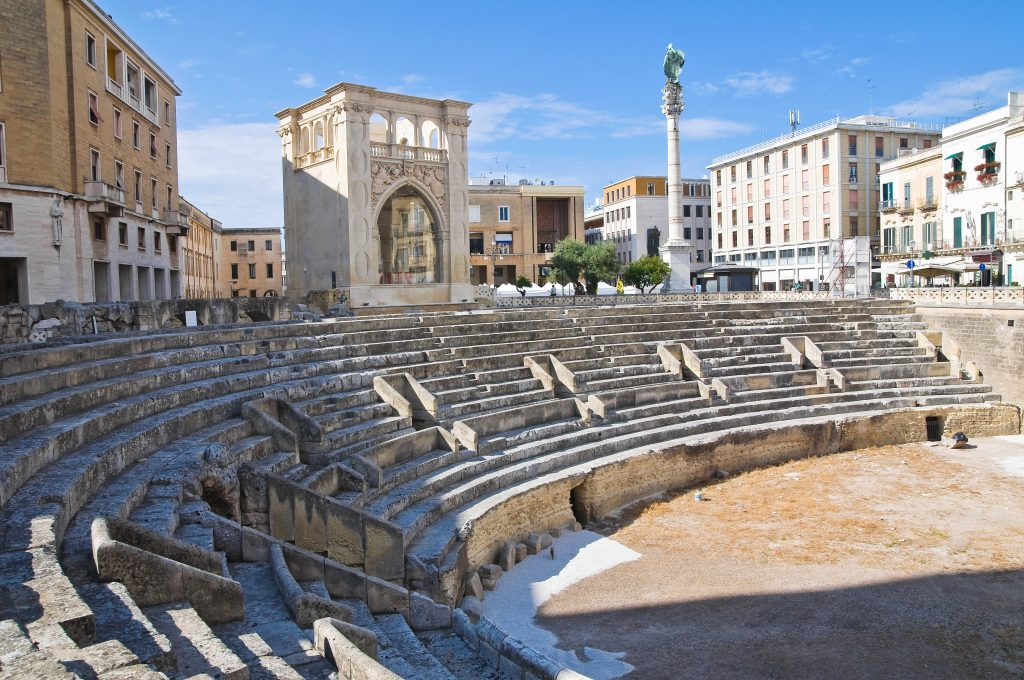 Perspective of the Roman Amphitheatre of Lecce. Puglia. Italy.