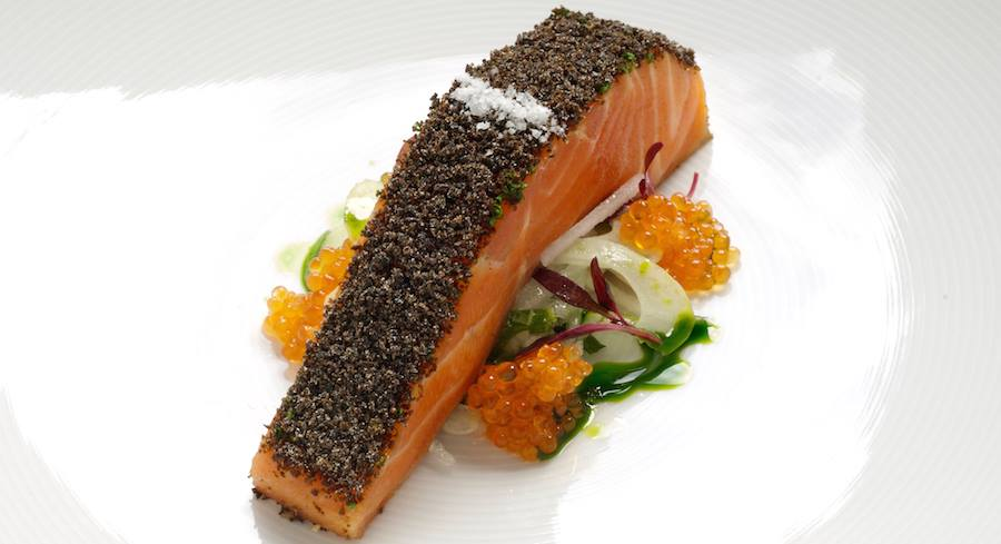 Tetsuya's signature dish - Confit of Tasmanian Ocean Trout. Fit for an A-lister!