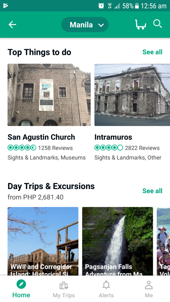 browsing available tours via the TripAdvisor mobile app