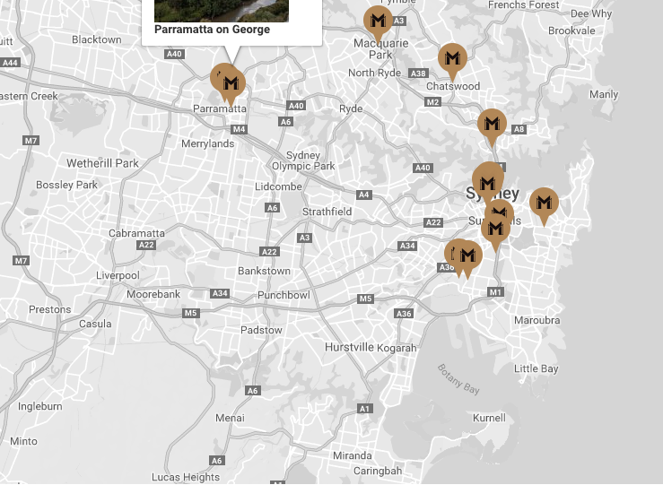 Meriton Apartment Locations around Sydney