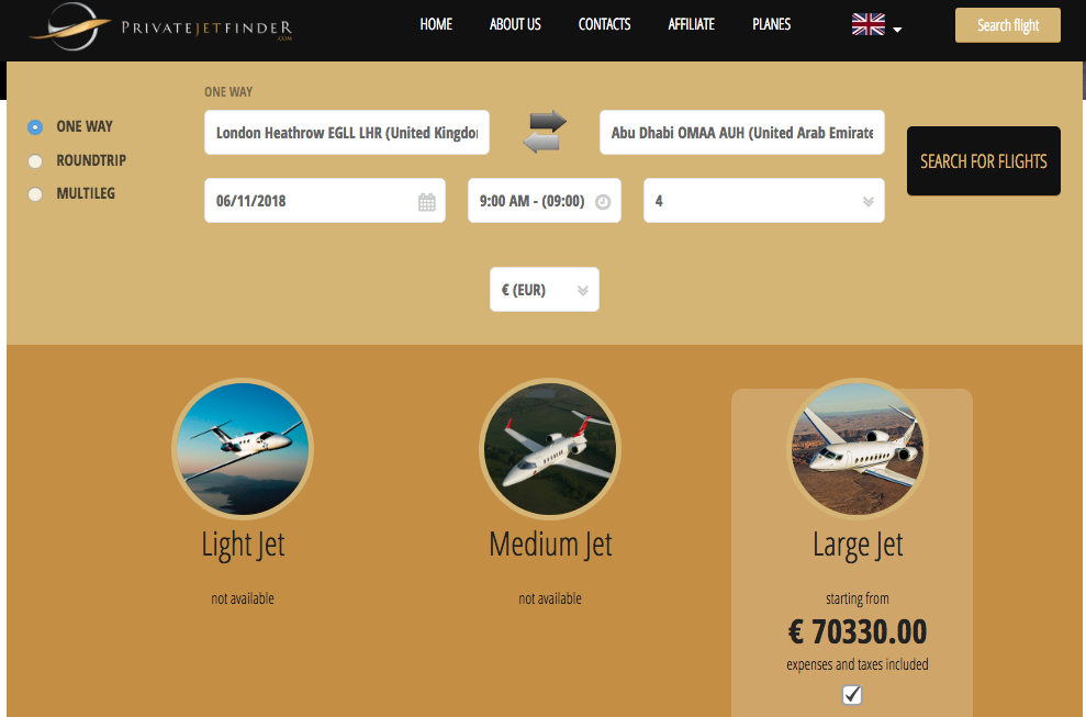 Private flight fare result with Private Jet Finder, London to Abu Dhabi One Way