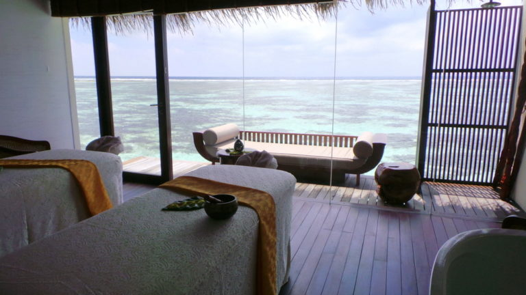 Treatment room at Spa by Clarins at The Residence Maldives