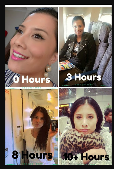 evolution of a face during a long-haul flight