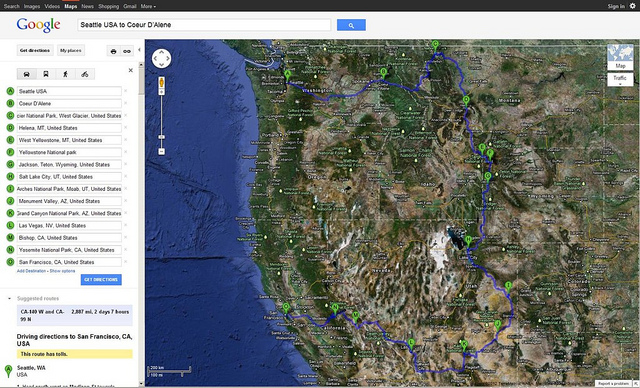 Google maps is just one of the many many programs where you can map out your road trip