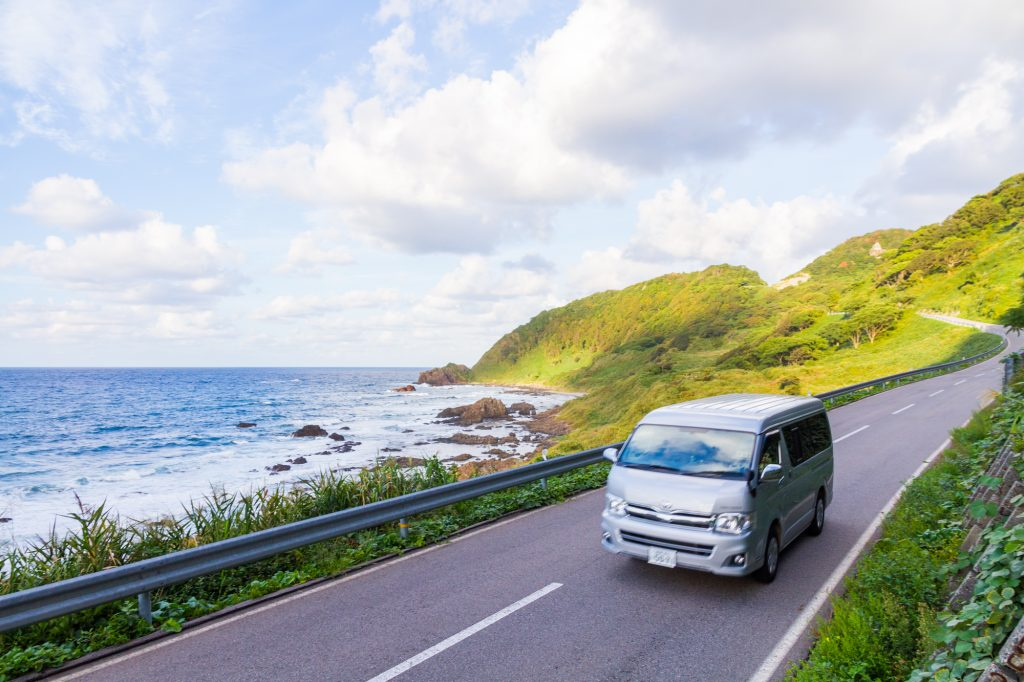 Travelling via Campervans and RV's are a popular option to explore the countryside of Japan. This one is in Noto area