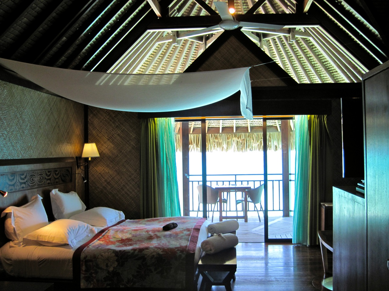 the interior of an overwater bungalow at the Sofitel Private Island in Bora-Bora