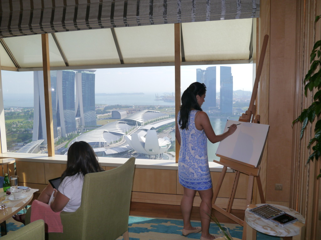 The private drawing room at the Ritz-Carlton Millenia Hotel Singapore's Club Lounge