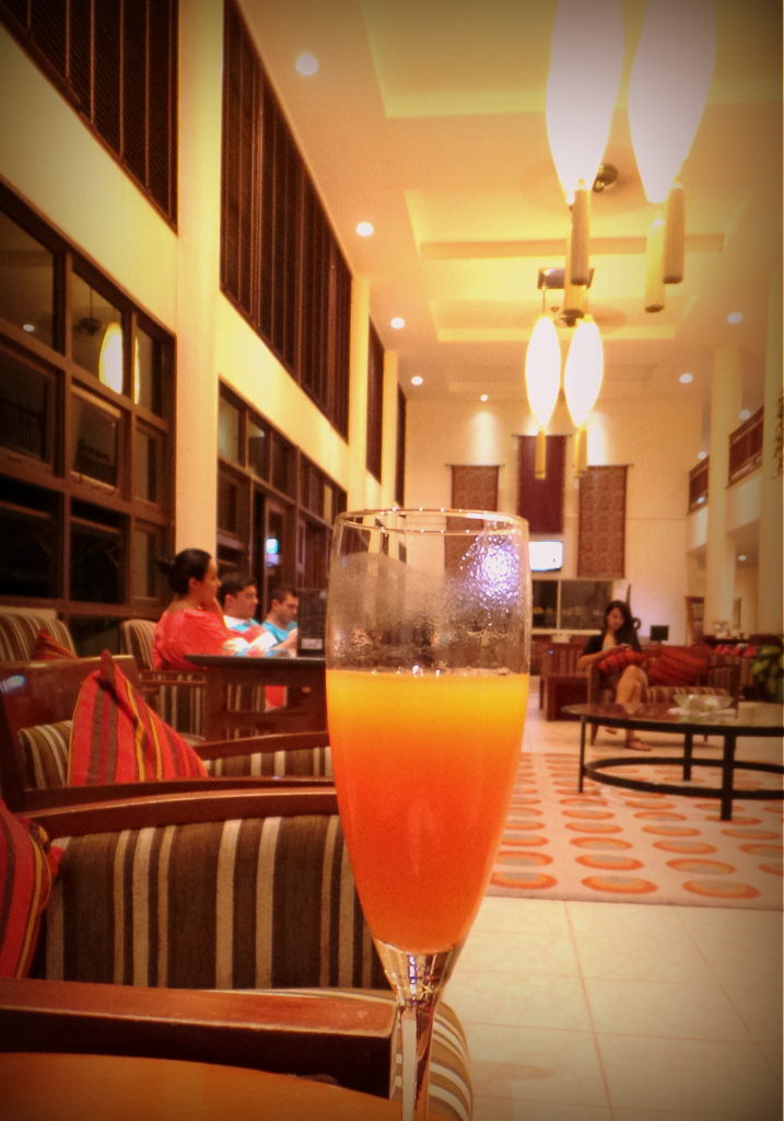 Welcome drink at Hulhule Island Hotel