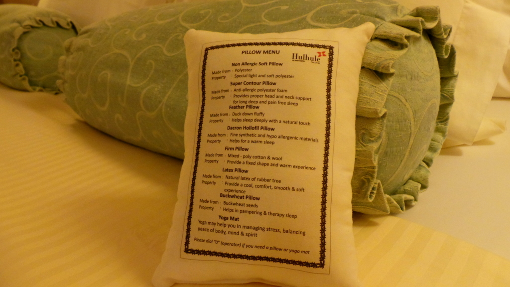 pillow menu at Hulhule Island Hotel