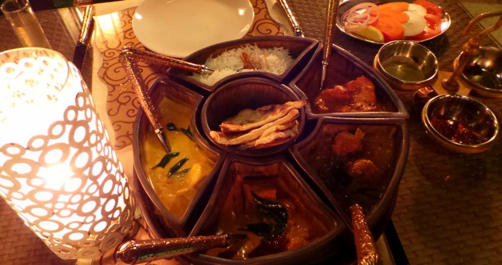 curry degustation meal at Dr Ali's. Shangrila Villingili Resort Maldives