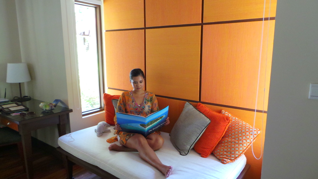 day bed / reading nook at a Deluxe Bungalow room. Kurumba Maldives