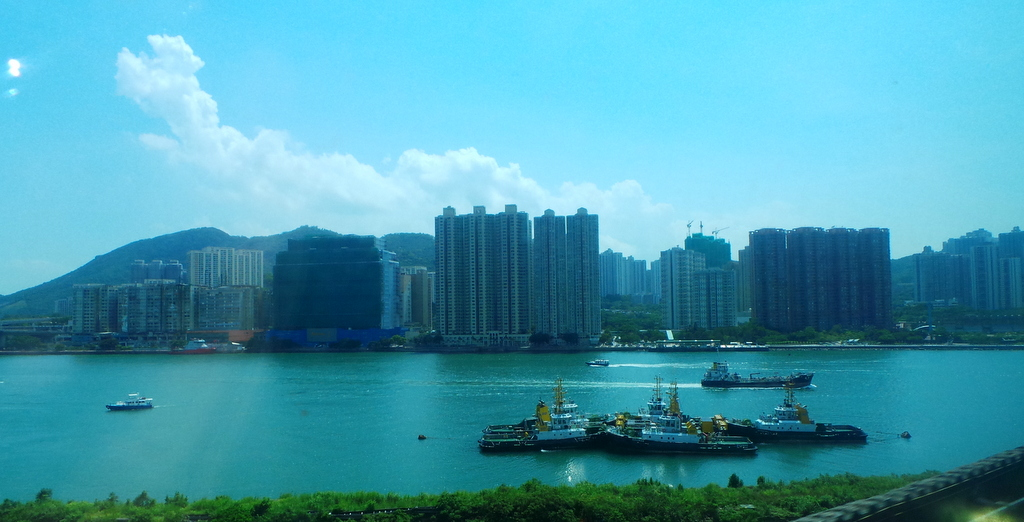views from the train. Hong Kong Airport to the city