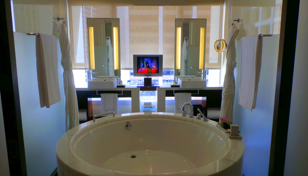 The L900 Suite opens up to the bathroom immediately