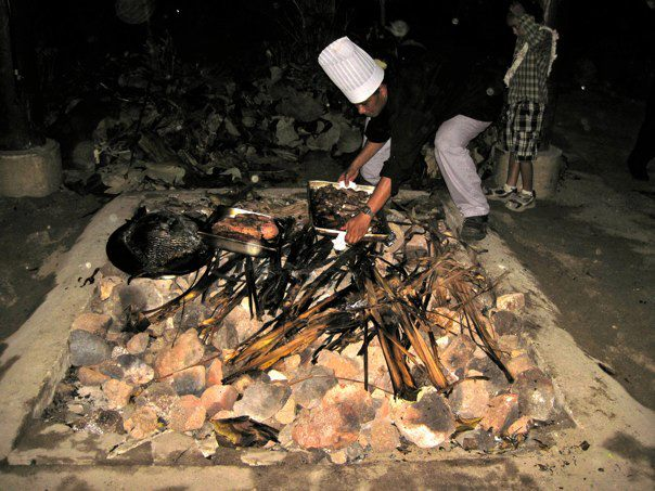 cooking a big feast, Polynesian style