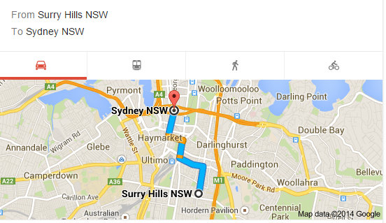 Surry Hills to Sydney CBD