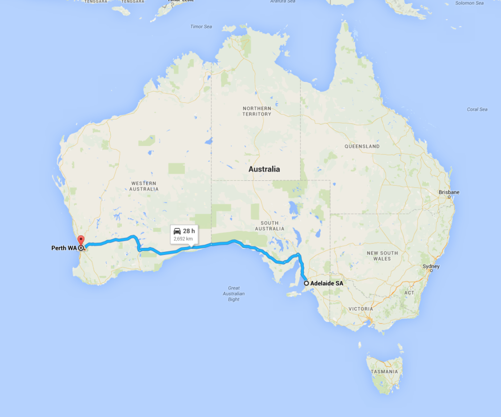 Adelaide to Perth by car