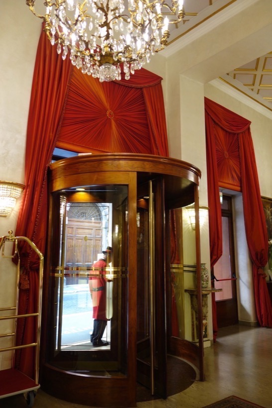 Revolving doors at the entrance to Intercontinental De La Ville Roma
