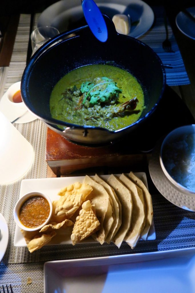 Seafood curry dinner at Sand, Velassaru Maldives