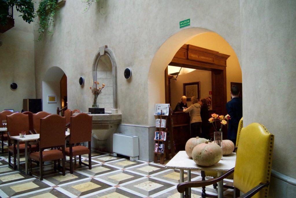 Lobby and breakfast area of Copernicus Hotel Krakow