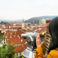 Trying to get a close view of the city of a hundred spires, Prague