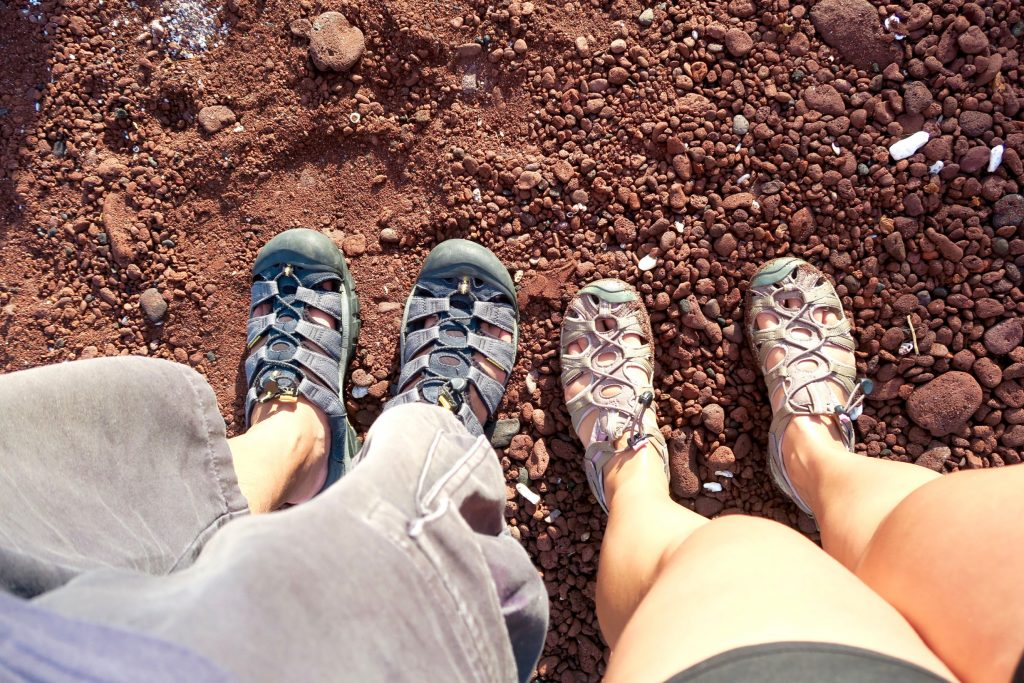 His and hers Keens. These pairs are well-worn, well-travelled, well-used and abused on all terrain