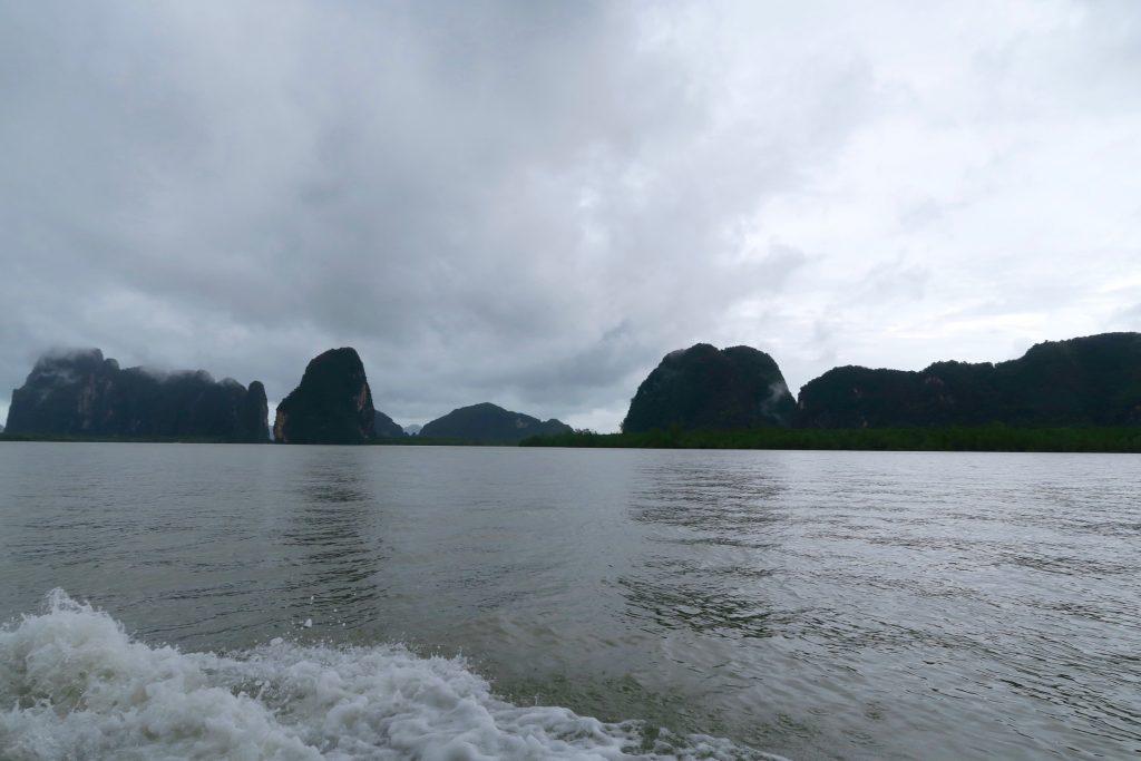 cruising Phang Nga Bay on a rainy day
