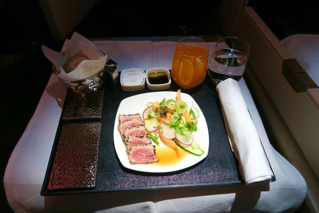 Sesame Crusted Tuna with lemon and summer greens from Etihad Airways Menu EY 455 Sydney to Abu Dhabi Business Class A380