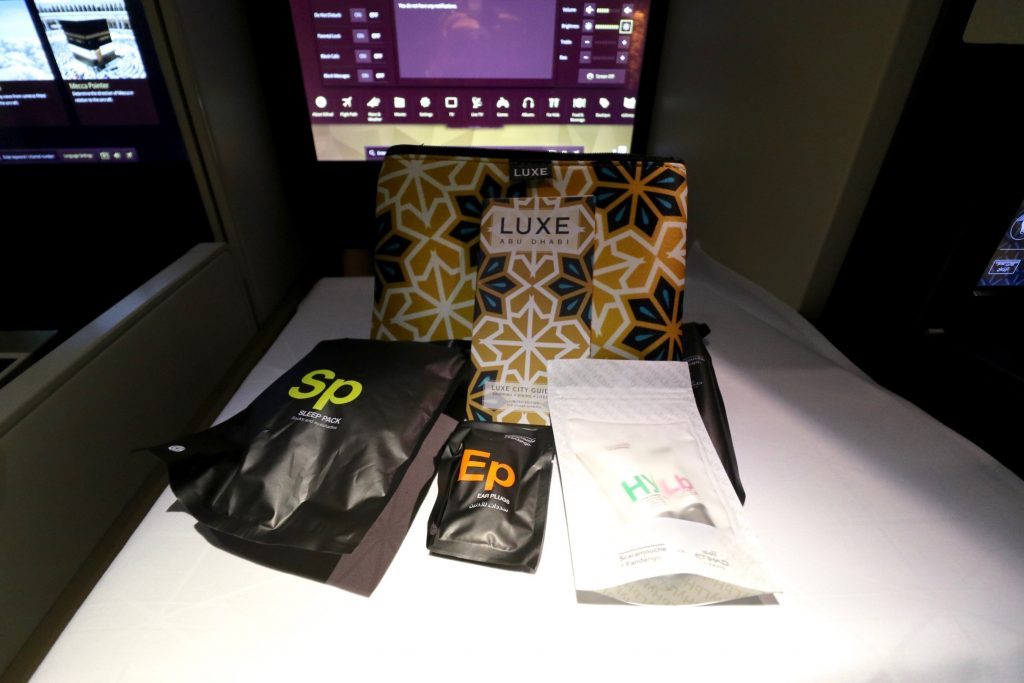 Etihad Amenity Kit in Business Class by Scaramouche and Fandango and LUXE City Guides