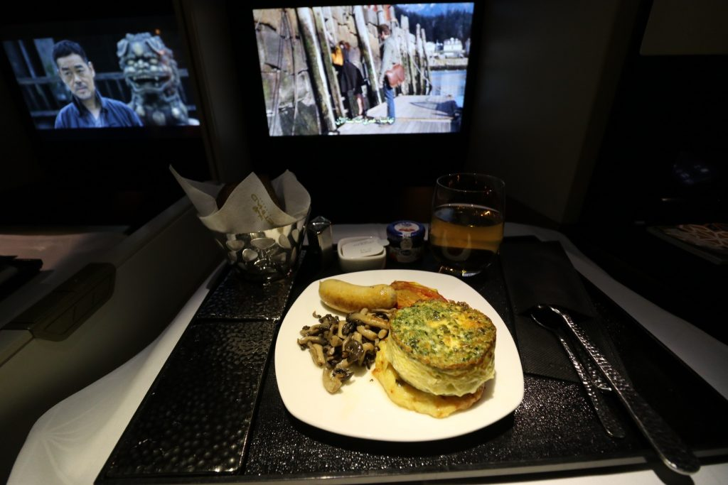 Baked eggs with cheddar cheese from Etihad Airways' All-Day Menu EY 455 Sydney to Abu Dhabi Business Class A380