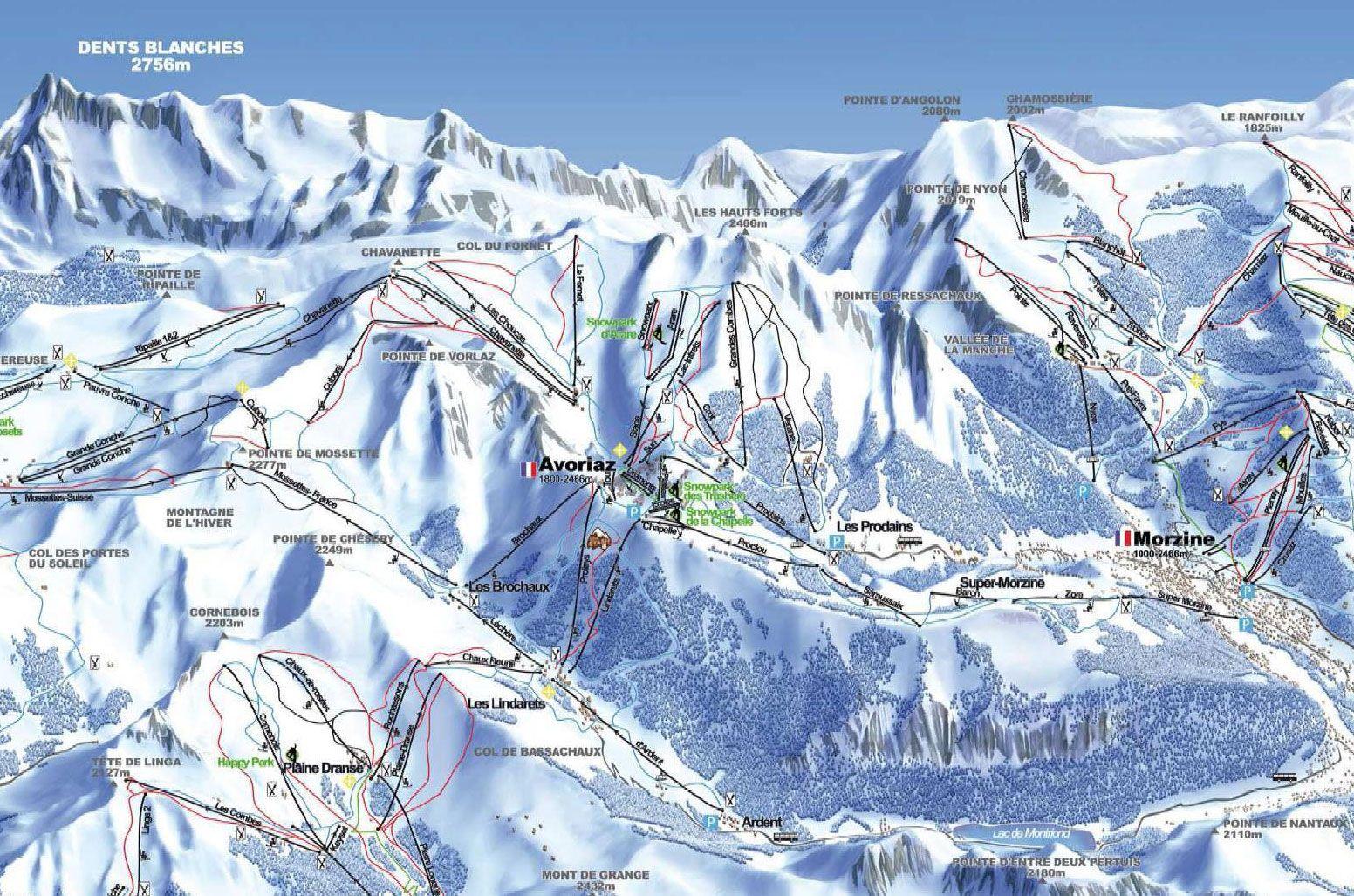 Avoriaz Piste Map Piste Map of Avoriaz image from .snow forecast.  Holy